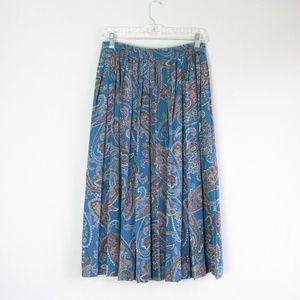 Vintage pleated blue paisley boho midi skirt